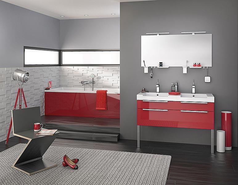 meuble salle de bain delpha inspiration nt120da | atout kro - Salle De Bains Rouge